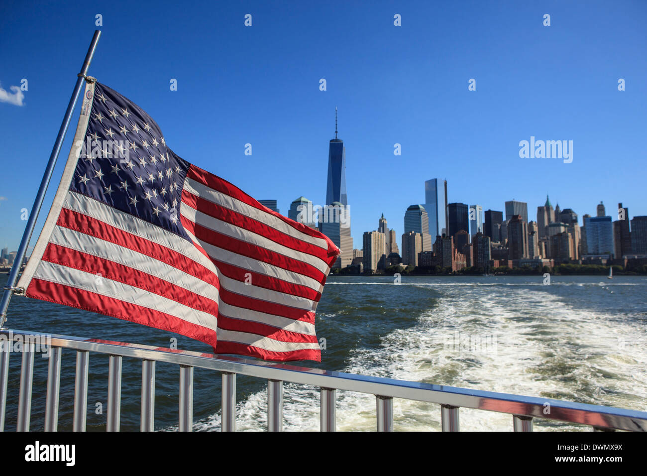 1 World Trade Centre Tower and New York's financial district as seen from the Hudson River, New York, United States of America - Stock Image