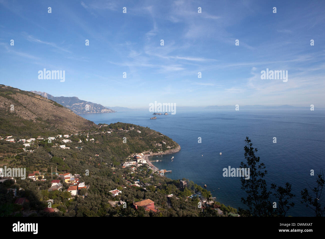 View of the entire Amalfi Coast, UNESCO World Heritage Site, from the top of the Ieranto Bay, Campania, Italy, Mediterranean - Stock Image