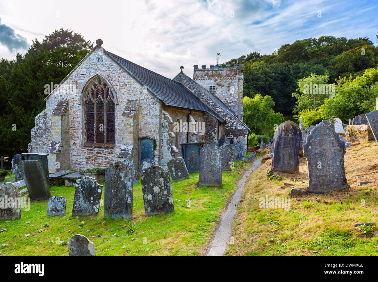 The churchyard of St Brynach Church, Nevern, Pembrokeshire, West Wales, UK - Stock Image