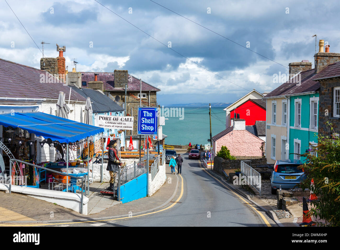 View down Church Street towards the harbour, New Quay, Ceredigion, West Wales, UK - Stock Image
