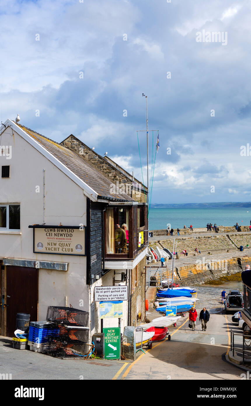 Yacht Club in the harbour in New Quay, Ceredigion, West Wales, UK - Stock Image