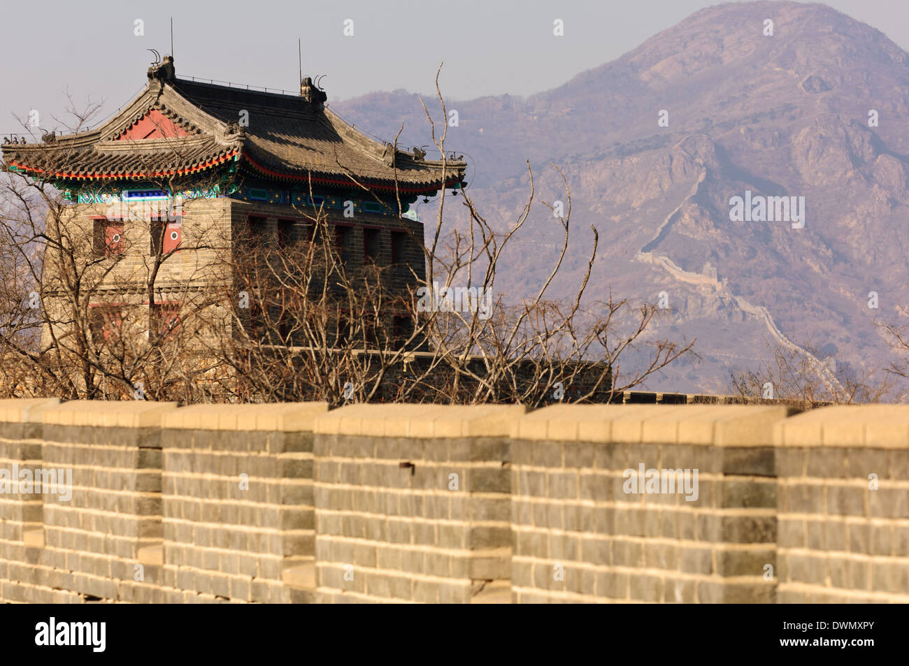 A section of the Great Wall in Shanhaiguan with the 'First Pass under Heaven' on the left. Hebei Province, - Stock Image