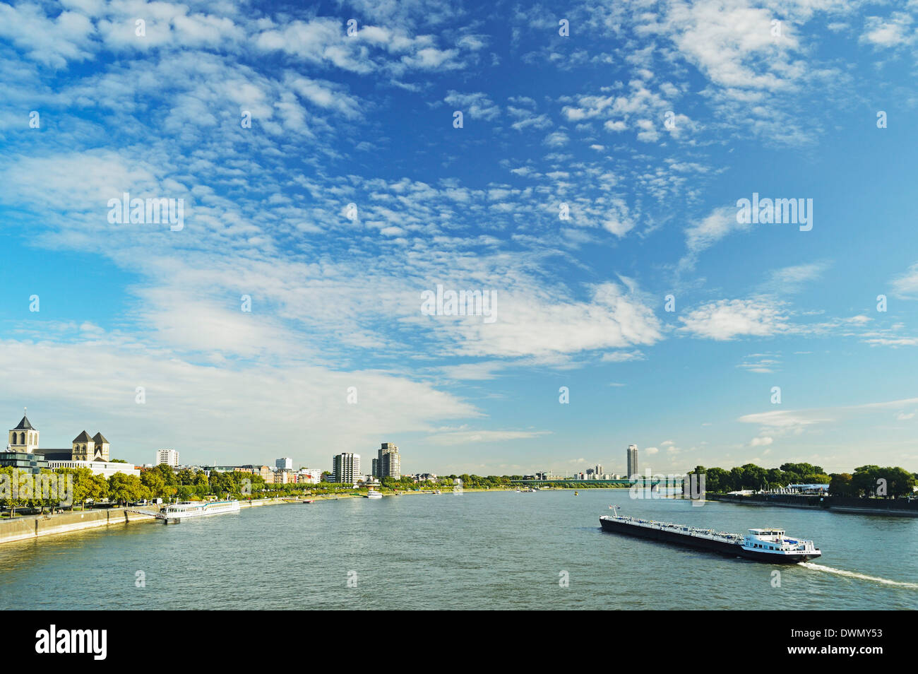River Rhine, Cologne, North Rhine-Westphalia, Germany, Europe - Stock Image