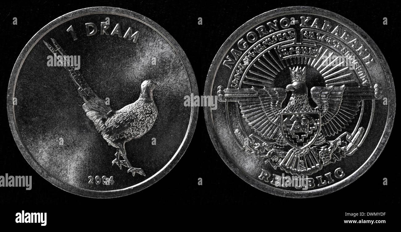 1 Dram coin, Pheasant, Nagorno-Karabakh Republic, 2004 - Stock Image