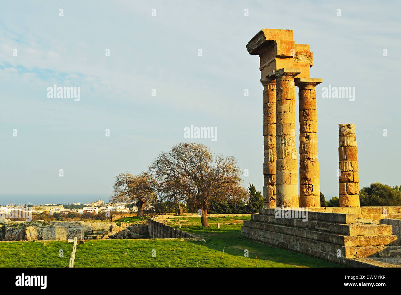 Ruins of Apollo Temple at the Acropolis of Rhodes, Rhodes City, Rhodes, Dodecanese, Greek Islands, Greece, Europe - Stock Image