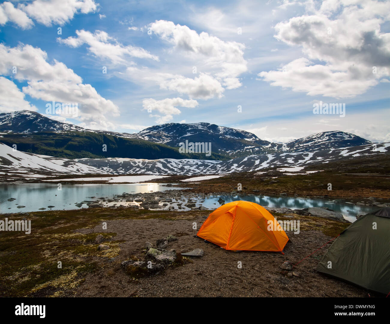 two tourist tents in mountains, summertime, Norway - Stock Image
