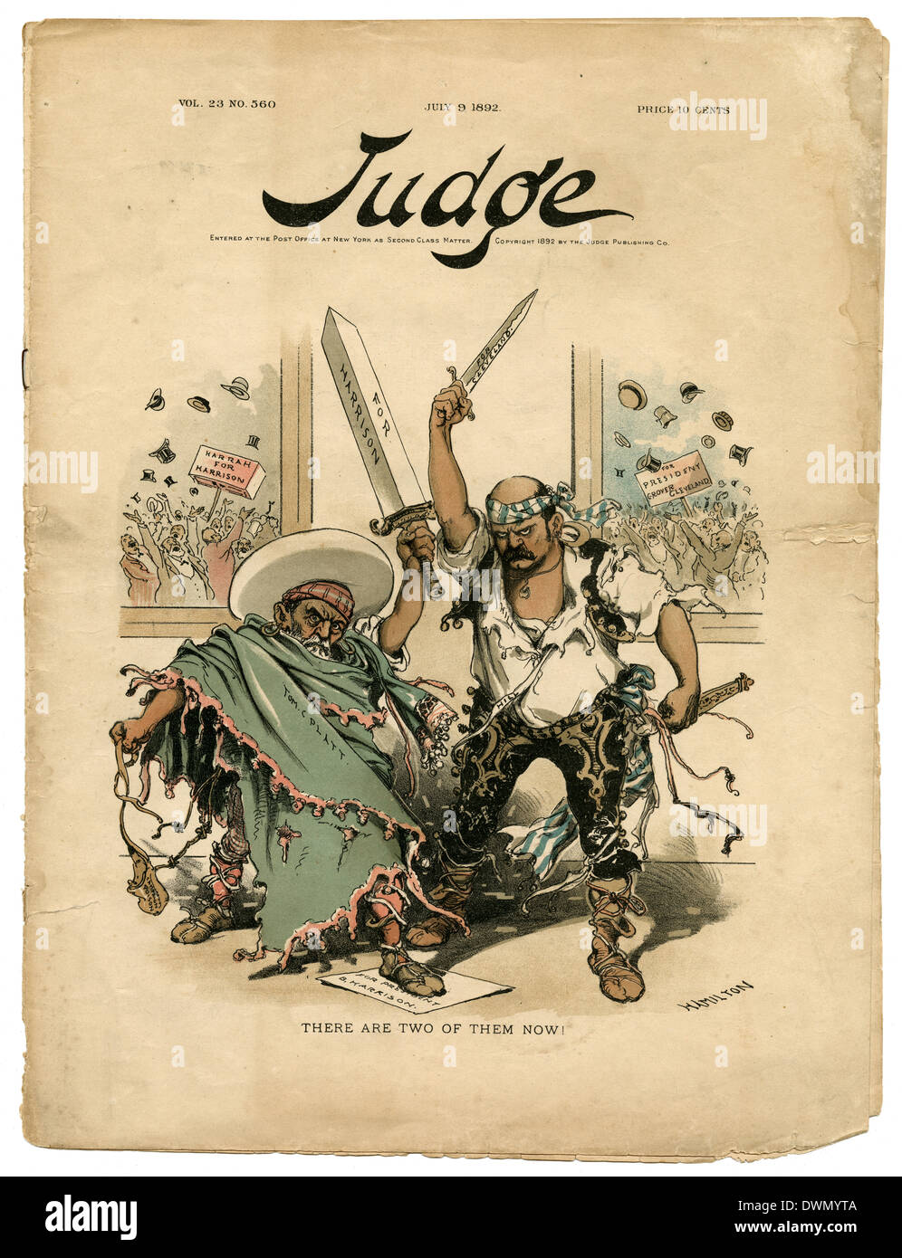 July 9, 1892 issue of Judge, a weekly satirical magazine published in the United States from 1881 to 1947. - Stock Image