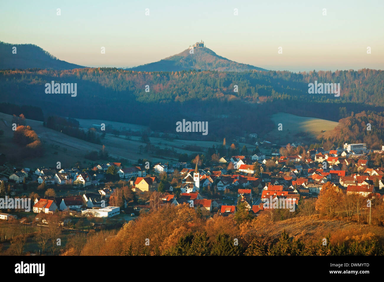 View of Jungingen and Hohenzollern Castle, Swabian Alb, Baden-Wurttemberg, Germany, Europe - Stock Image