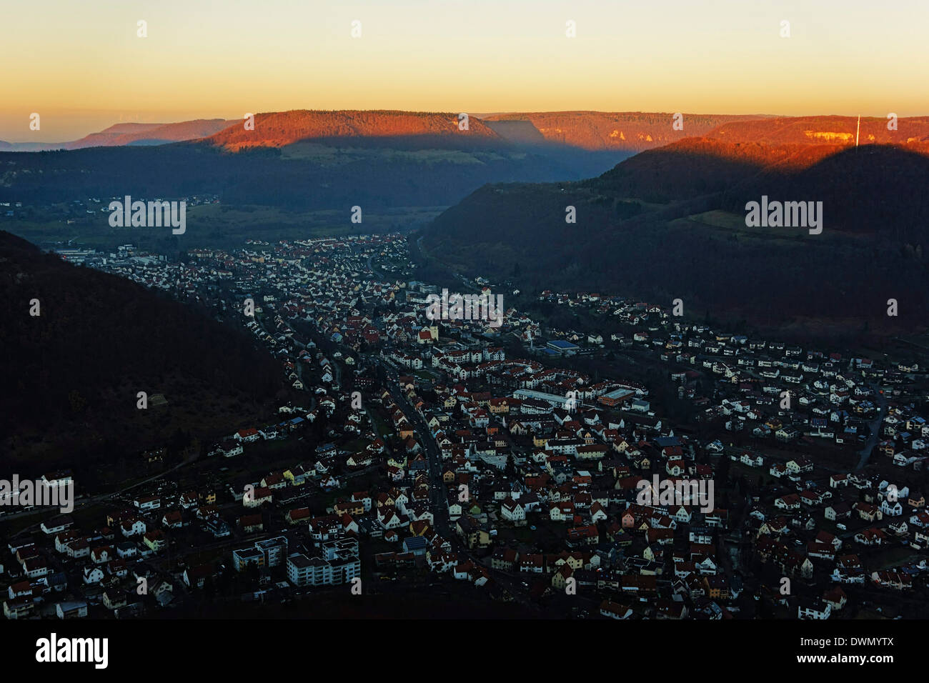 Evening view of Lichtenstein village, Swabian Alb, Baden-Wurttemberg, Germany, Europe - Stock Image