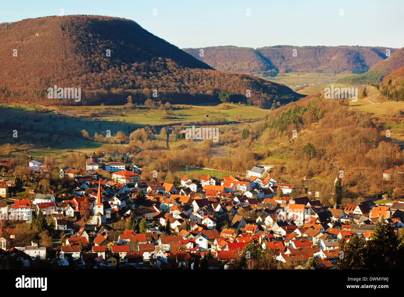 Bad Ueberkingen, Swabian Alb, Baden-Wurttemberg, Germany, Europe - Stock Image