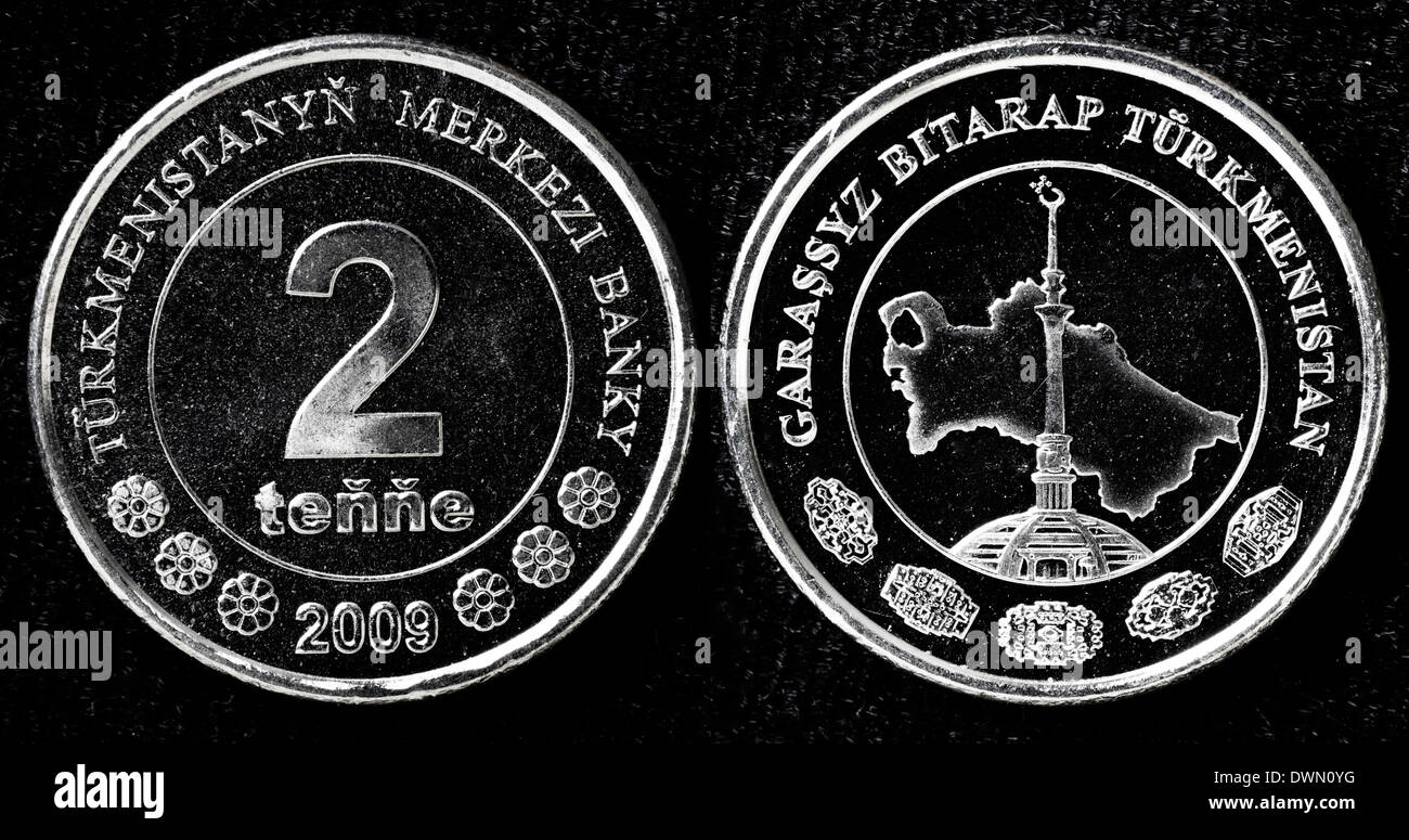 2 tenge coin, Turkmenistan, 2009 Stock Photo