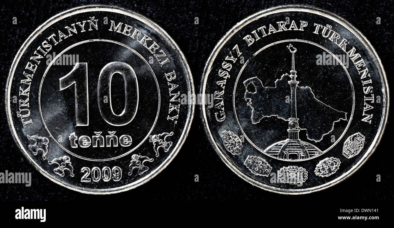 10 tenge coin, Turkmenistan, 2009 - Stock Image