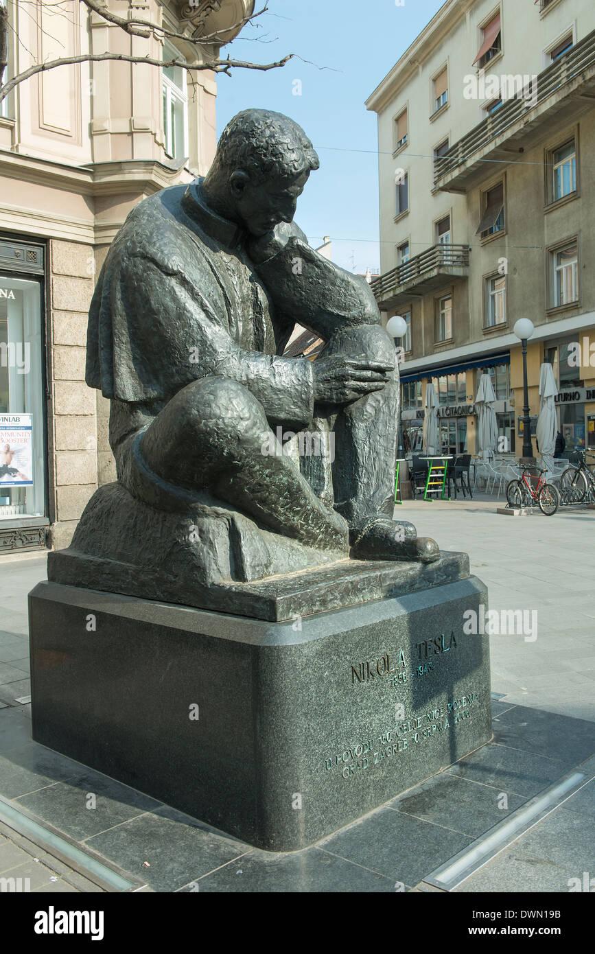 The statue of Nikola Tesla in Zagreb - Stock Image