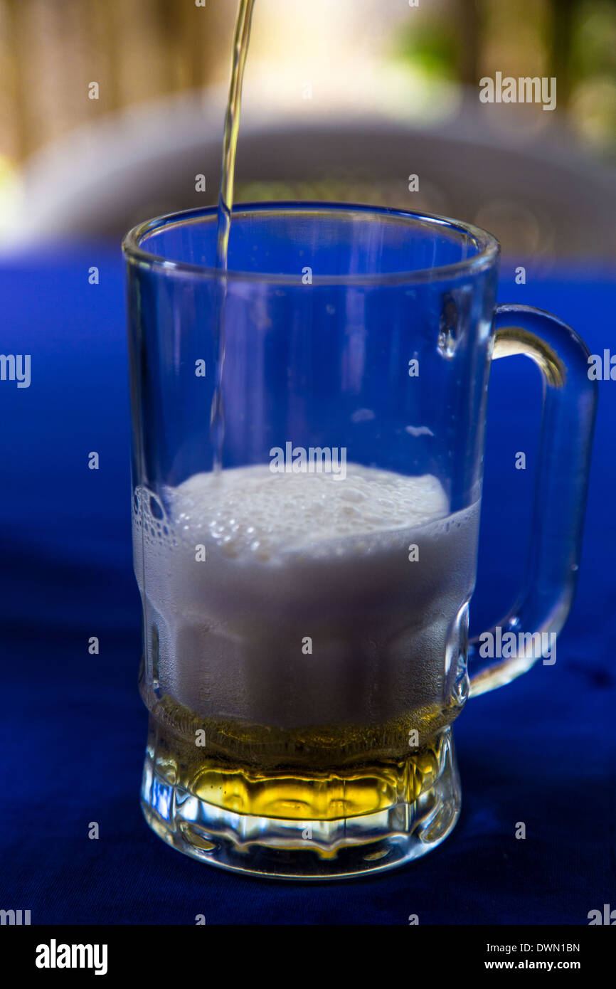 beer glass at outdoors - Stock Image