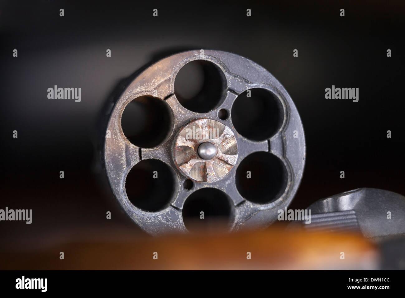 Macro of cylinder revolver handgun. - Stock Image