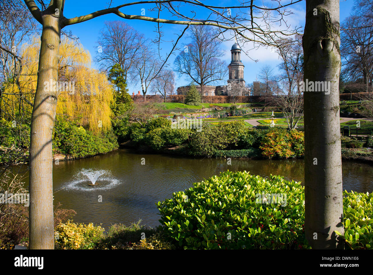 The Dingle, a garden within The Quarry, and St Chad's, Shrewsbury, Shropshire. - Stock Image