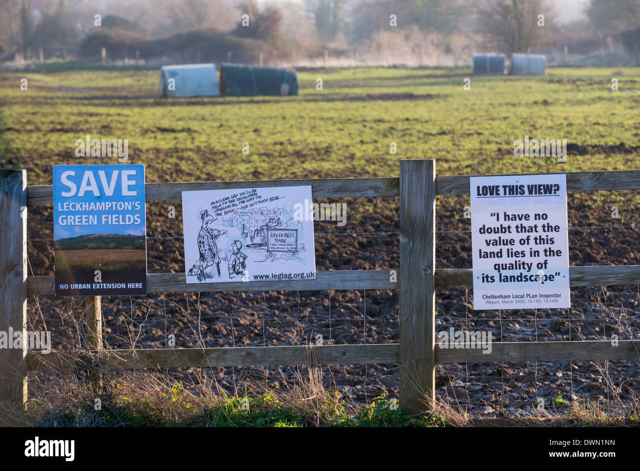 Kidnappers Lane proposed development protest signs Stock Photo