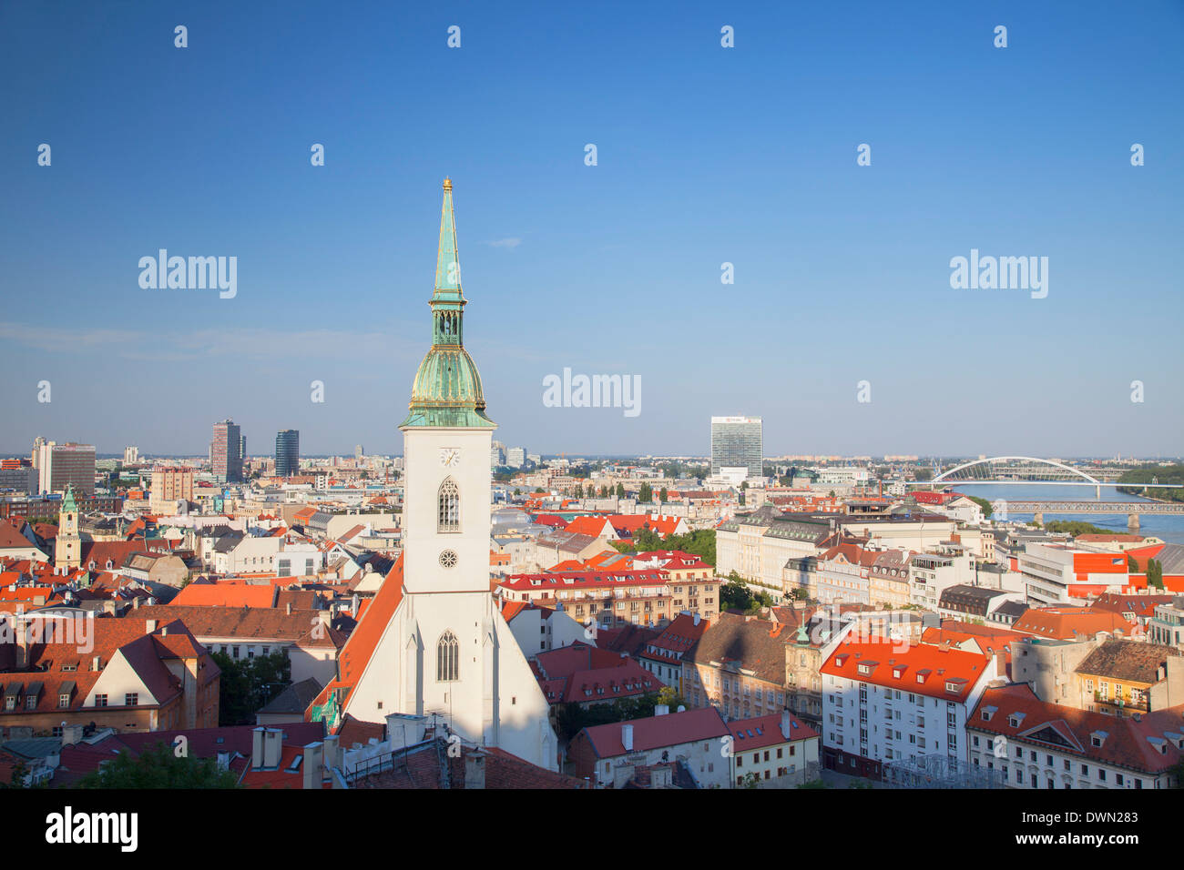 View of St. Martin's Cathedral and city skyline, Bratislava, Slovakia, Europe - Stock Image