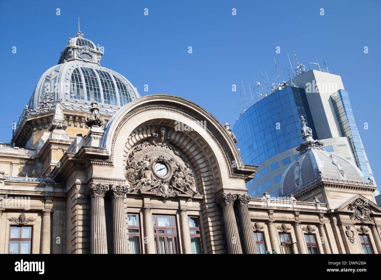 Economic Consortium Palace and Bucharest Financial Plaza, Historic Quarter, Bucharest, Romania, Europe - Stock Image