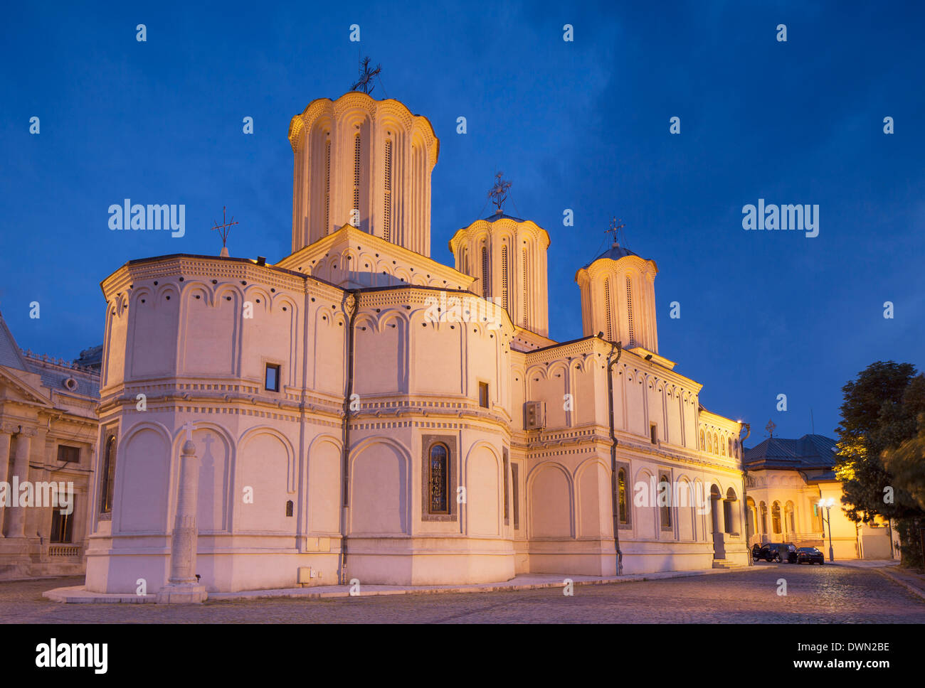 Patriarchal Cathedral at dusk, Bucharest, Romania, Europe - Stock Image