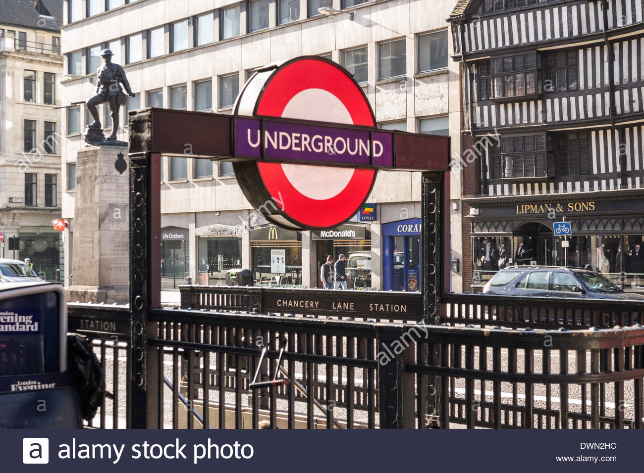 Chancery Lane underground station and sign - Stock Image