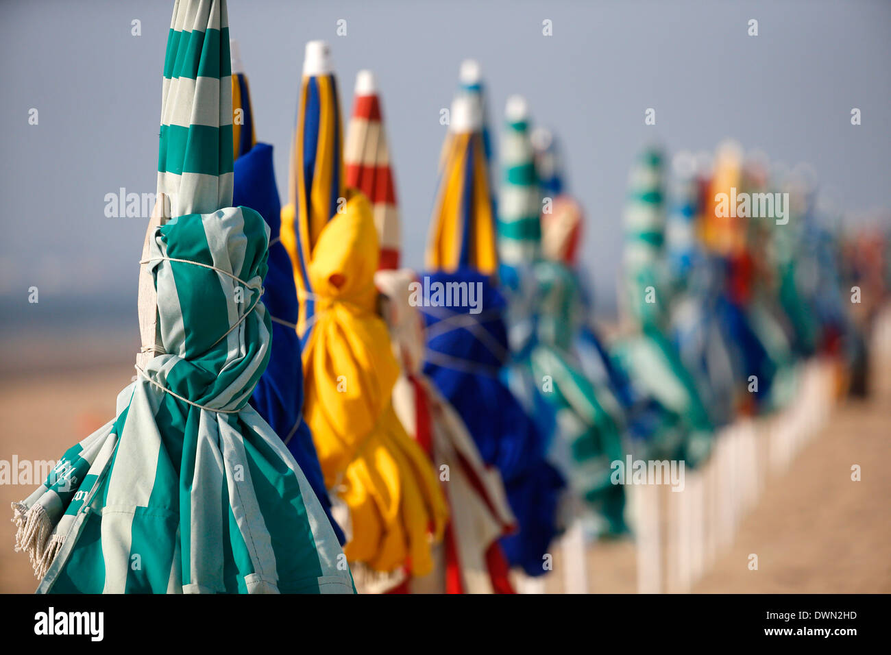 Sunshades, Trouville-sur-Mer beach, Calvados, Normandy, France, Europe - Stock Image