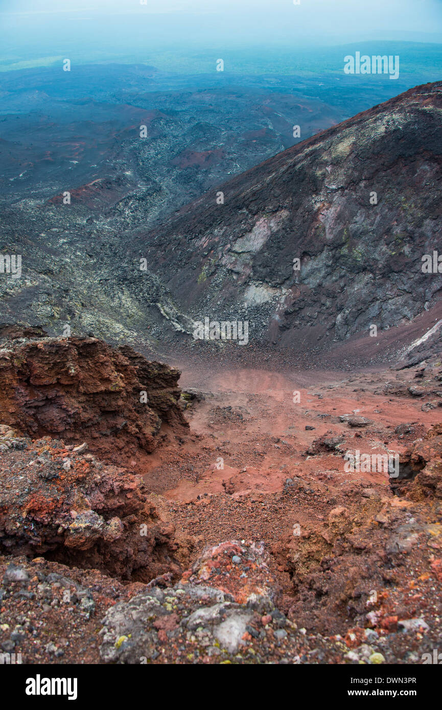 View over the lava sand field of the Tolbachik volcano, Kamchatka, Russia, Eurasia - Stock Image