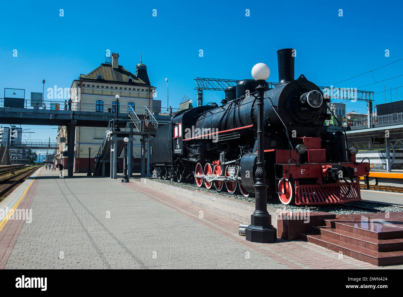 Old steam engine at the final railway station of the Trans-Siberian railway in Vladivostok, Russia, Eurasia - Stock Image