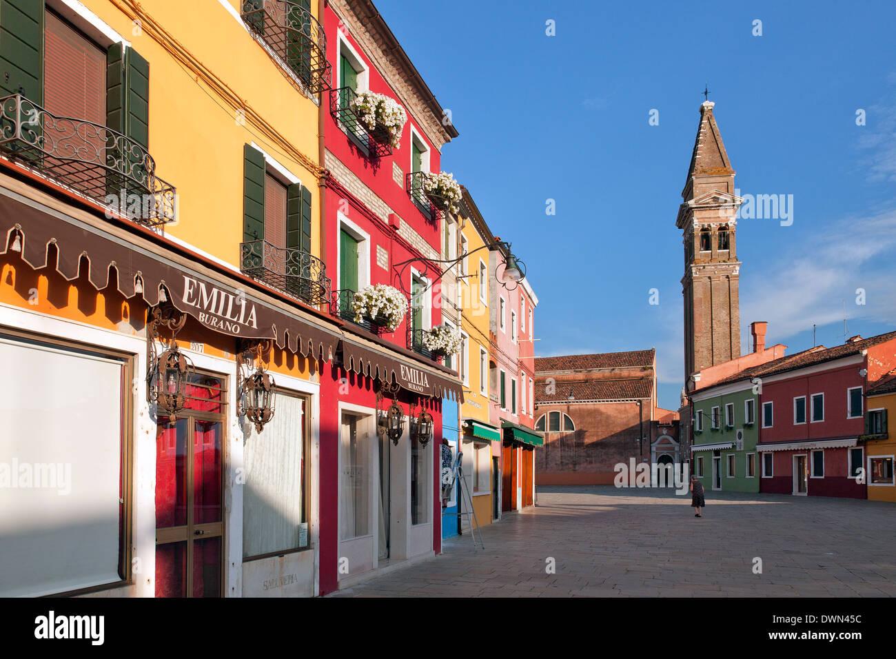 Burano, Venice - The tilting tower of the church San Martini, Italy; Chiesa di San Martini - Stock Image