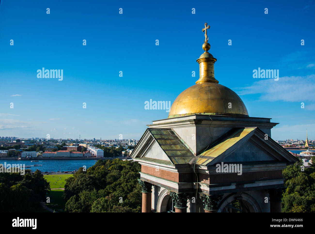 View from St. Isaac's Cathedral with a golden cupola, St. Petersburg, Russia, Europe - Stock Image
