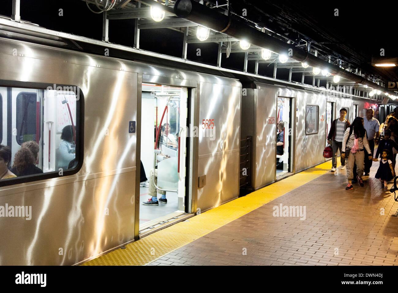 Subway train at King station in Toronto, Ontario,Canada. Stock Photo