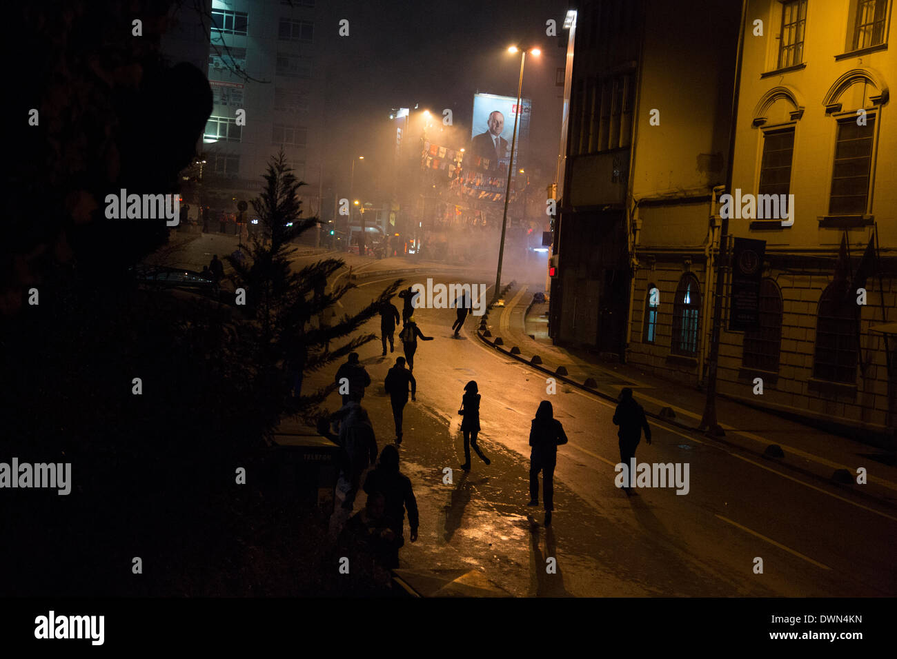 Nationwide protests lead to clashes between civilian protesters and the police in Kadikoy, Istanbul - Stock Image
