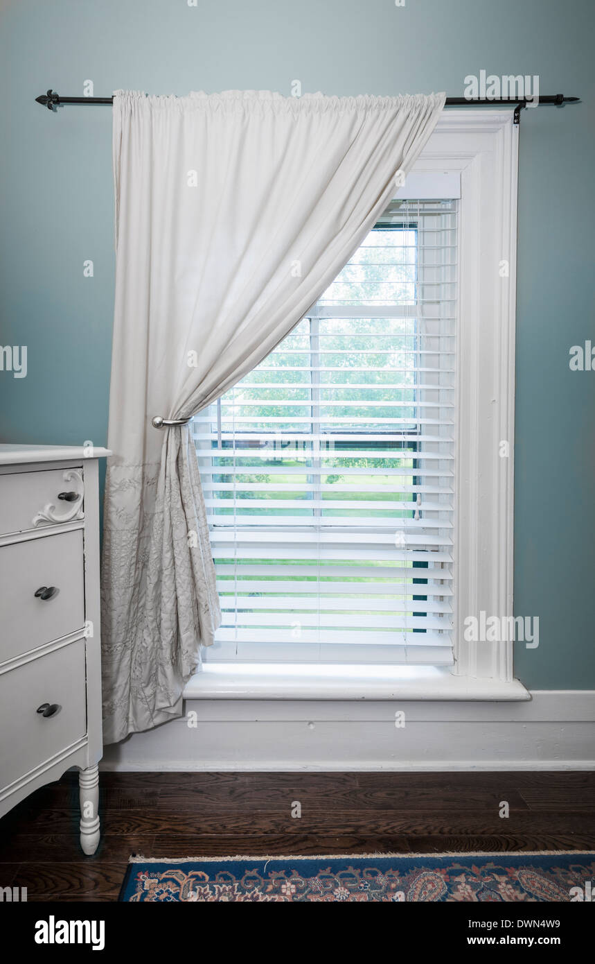 Window With Venetian Blinds And White Curtain In Country Style Room   Stock  Image