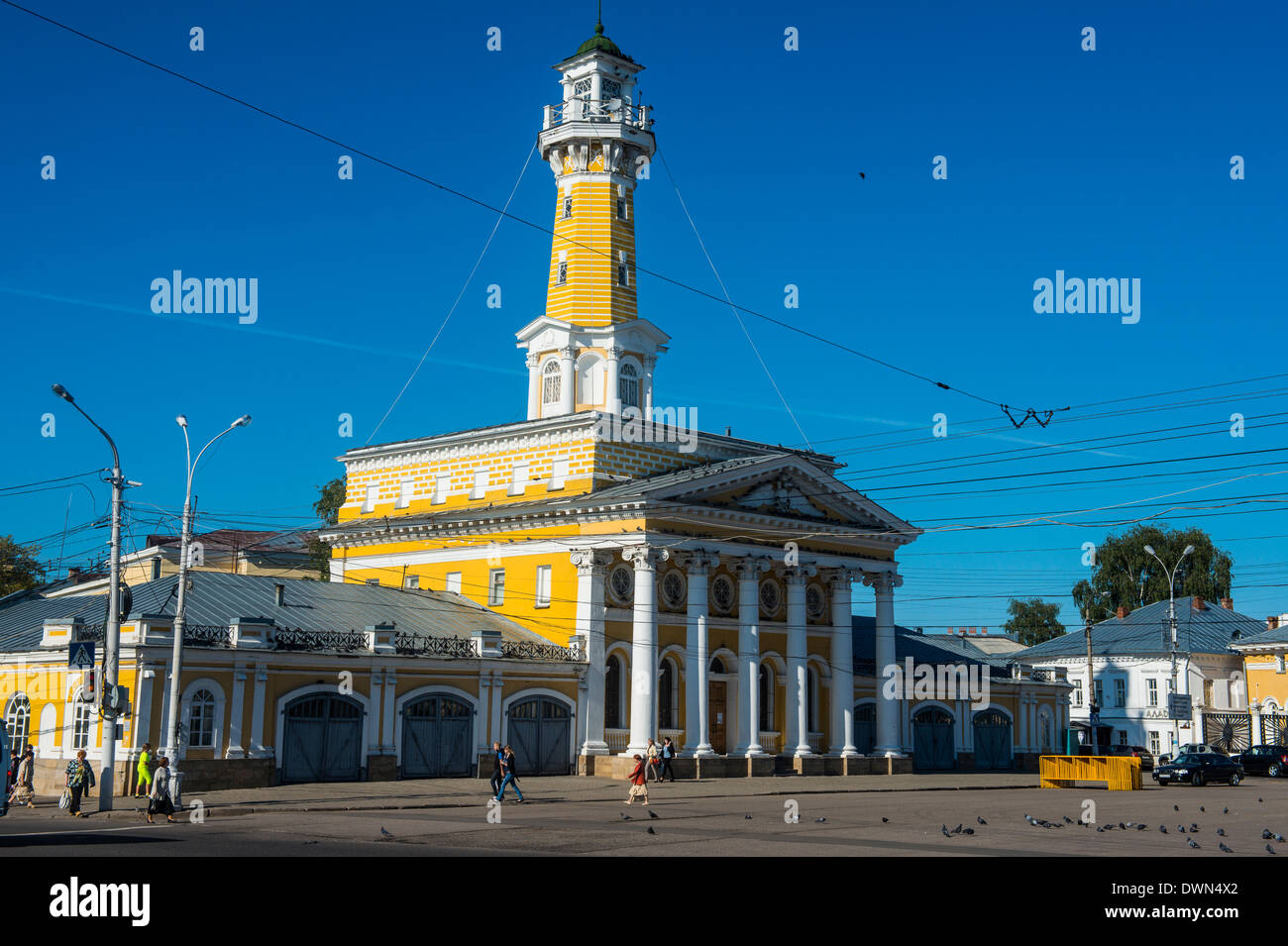 Fire tower on Susaninskaya Square, Kostroma, Golden Ring, Russia, Europe - Stock Image