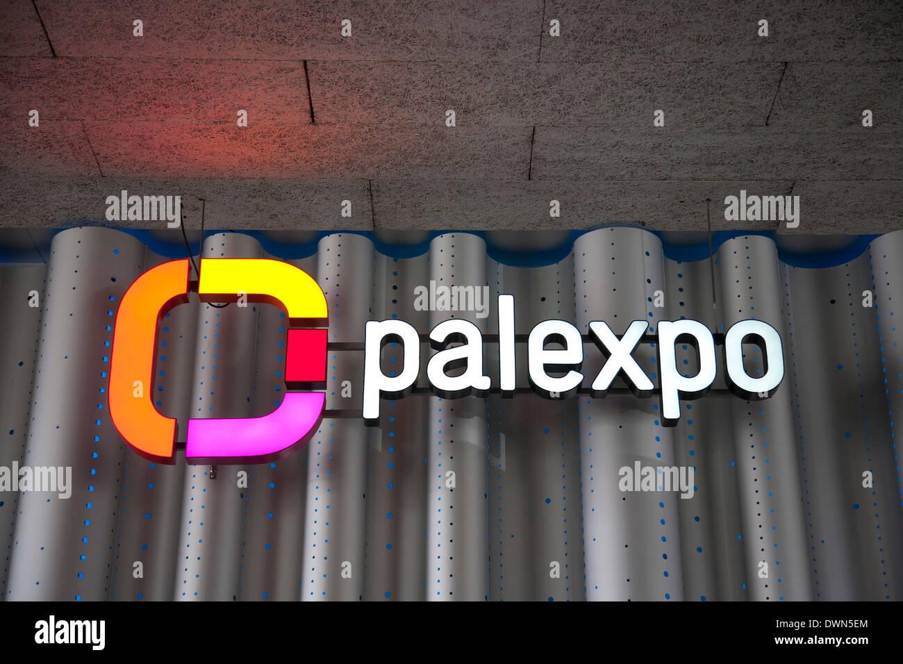 Palexpo exhibition hall signage at the 84th Geneva International Motor Show 2014. - Stock Image