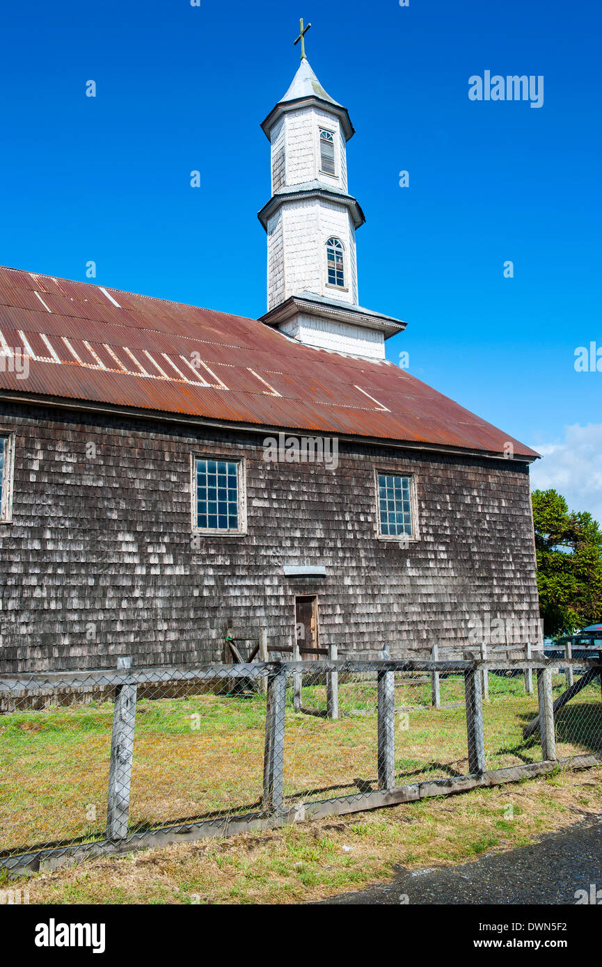 Church of Our Lady of Sorrows, UNESCO World Heritage Site, Dalcahue, Chiloe, Chile, South America Stock Photo