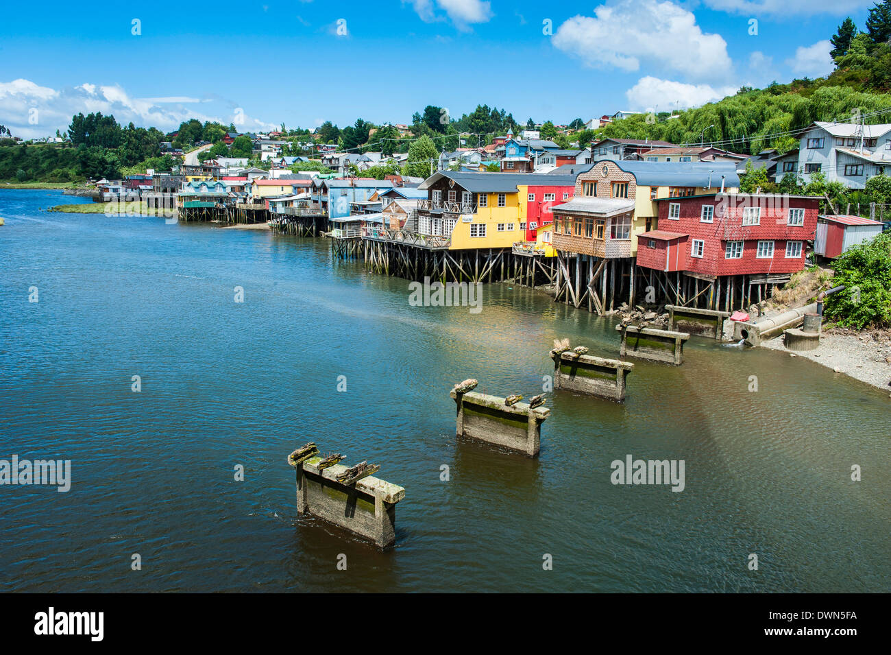 Colourful houses in Castro, Chiloe, Chile, South America - Stock Image