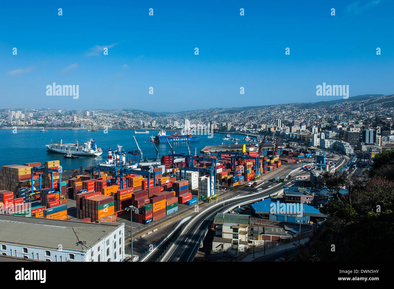 View over the cargo port of Valparaiso, Chile, South America - Stock Image
