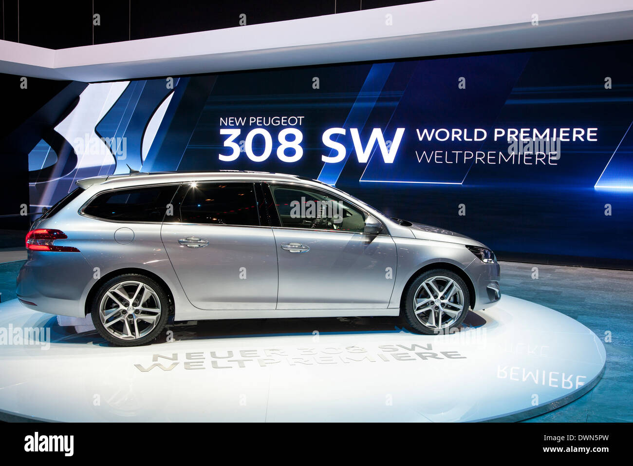 Peugeot 308 SW 'Car of the Year 2014' at the 84th Geneva International Motor Show. - Stock Image