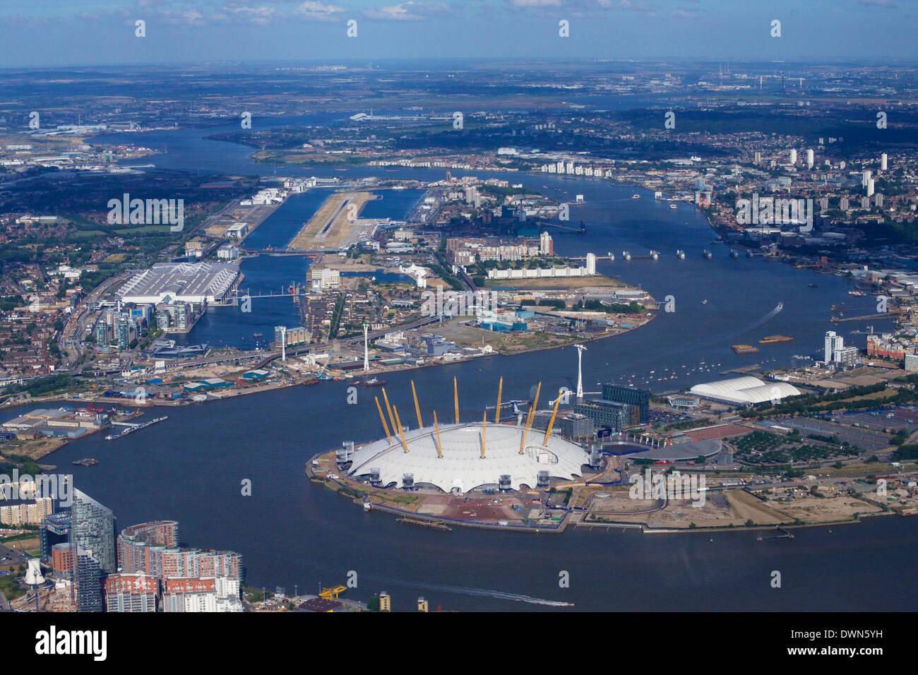 Aerial view of London City Airport and O2 Arena, London, England, United Kingdom, Europe - Stock Image