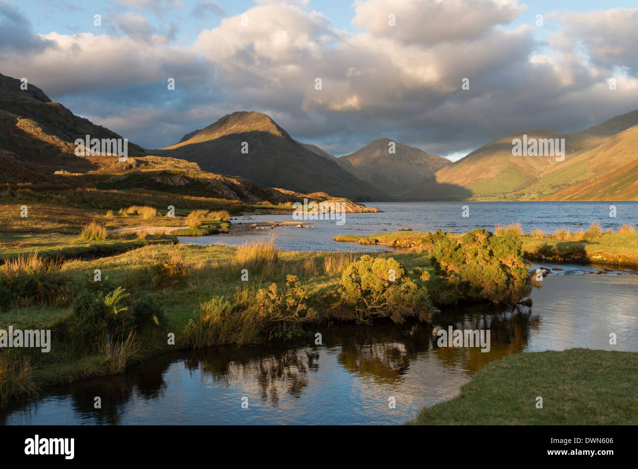 Beautiful late autumnal light at Wastwater, Lake District National Park, Cumbria, England, United Kingdom, Europe - Stock Image
