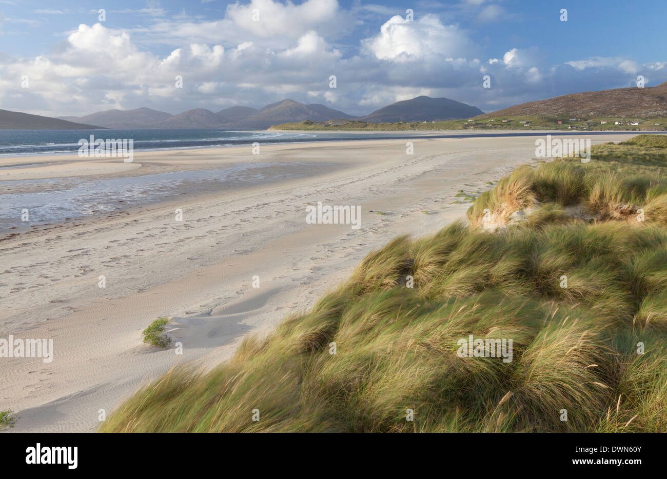 A view of Seilebost beach, Isle of Harris, Outer Hebrides, Scotland, United Kingdom, Europe - Stock Image