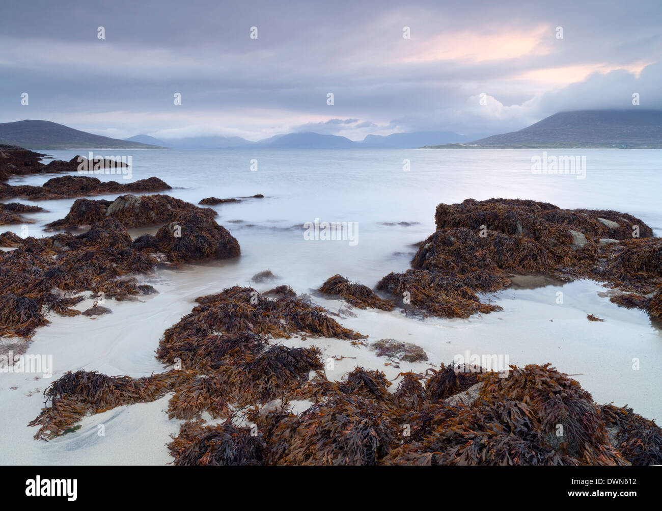 A beautiful morning looking across the Sound of Taransay from Horgabost, Isle of Harris, Outer Hebrides, Scotland, Stock Photo