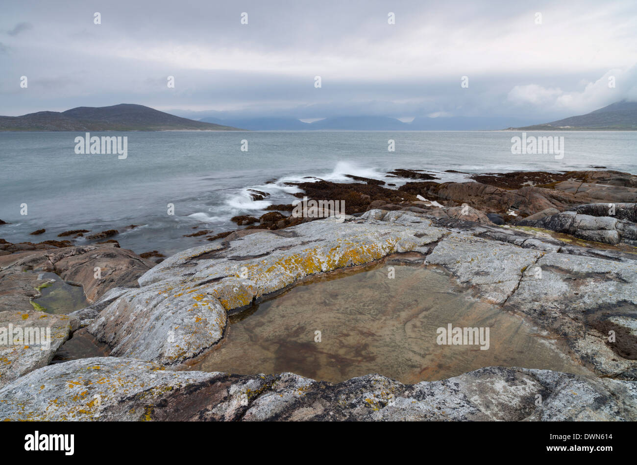 A view across the Sound of Taransay from near Horgabost, Isle of Harris, Outer Hebrides, Scotland, United Kingdom, Europe - Stock Image