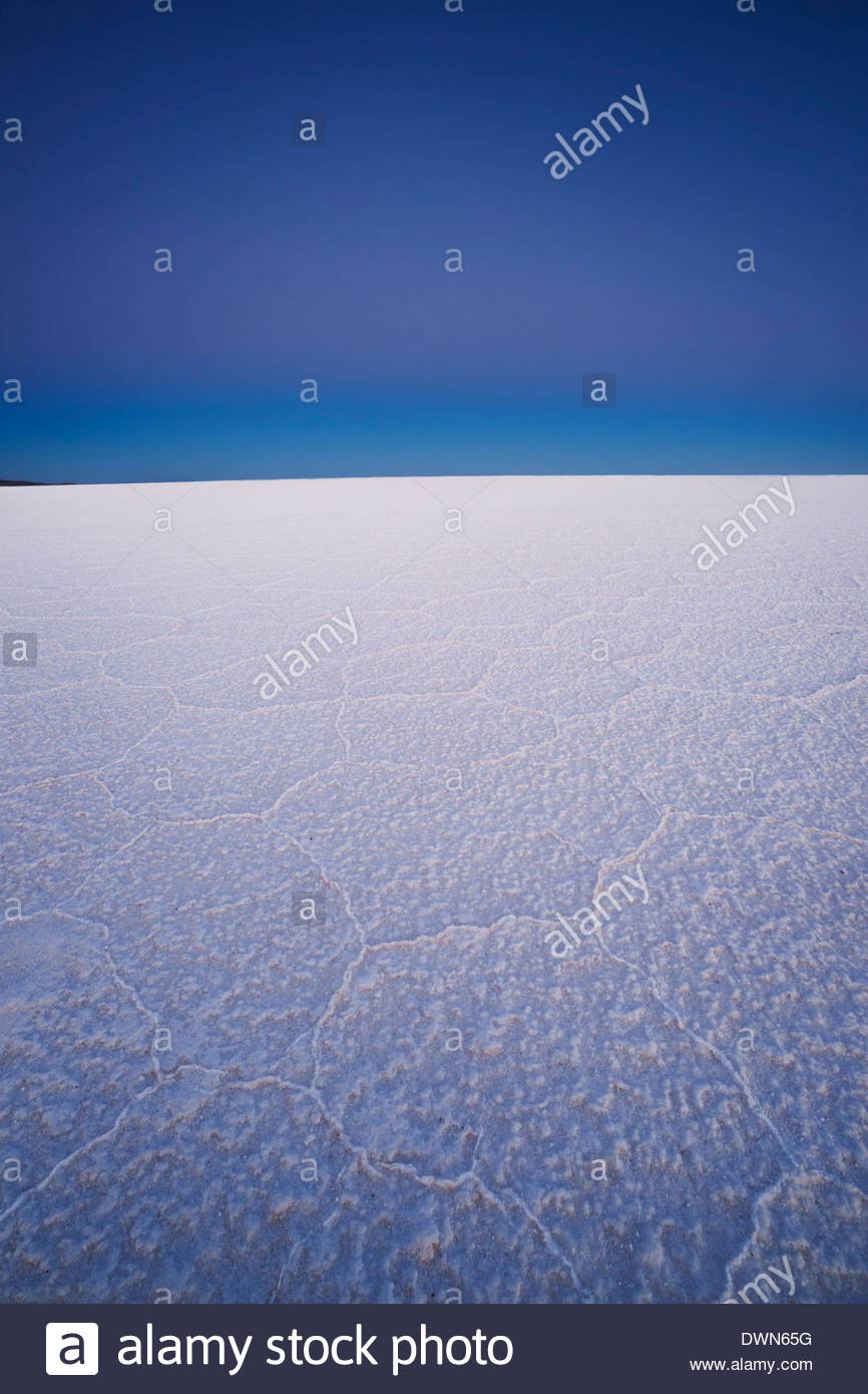 Deserted salt flats at twilight, Salar de Uyuni, Bolivia, South America - Stock Image