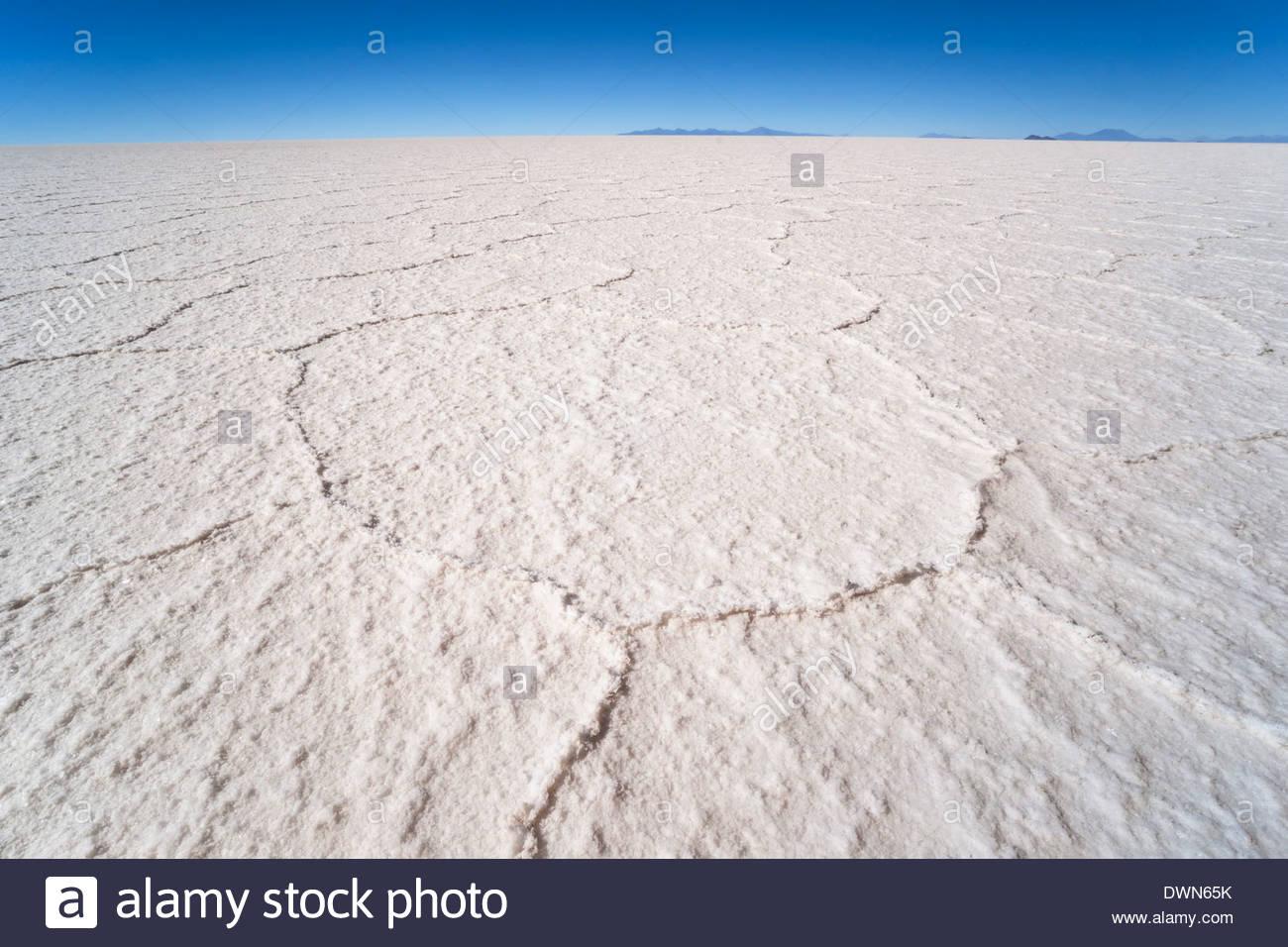 Hexagonal shaped salt flats, Salar de Uyuni, Bolivia, South America - Stock Image