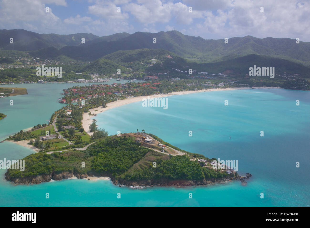View over Jolly Harbour, Antigua, Leeward Islands, West Indies, Caribbean, Central America Stock Photo