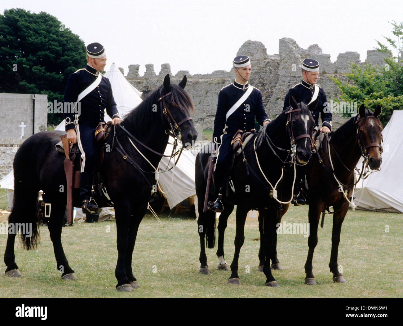 Warwickshire Yeomanry, yeoman cavalry, 1890, historical re-enactment British county soldier soldiers horses yeomen England UK military army uniform uniforms - Stock Image