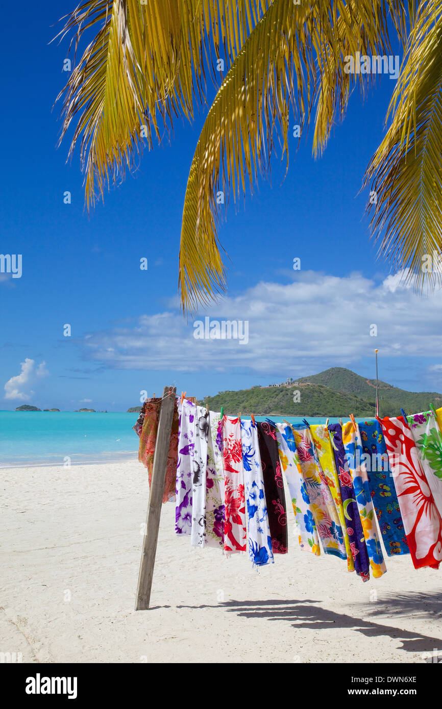 Beach and vendor's stall, Jolly Harbour, St. Mary, Antigua, Leeward Islands, West Indies, Caribbean, Central America - Stock Image