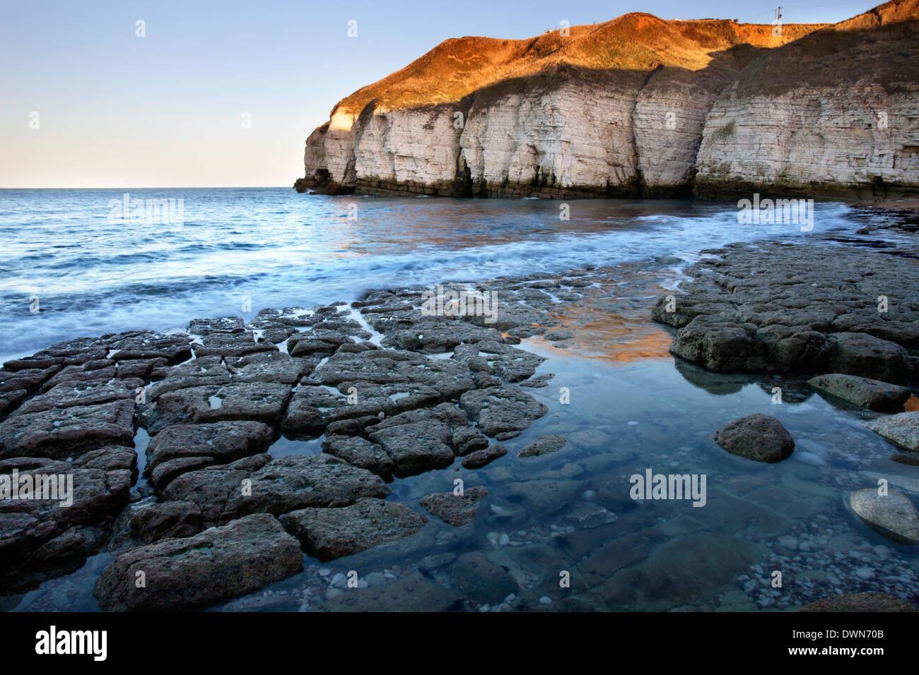 Thornwick Bay at sunset, Flamborough Head, East Riding of Yorkshire, England, United Kingdom, Europe Stock Photo
